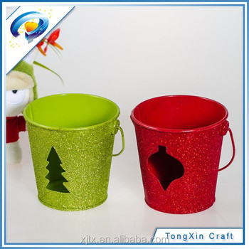 mini stainless metal bucket with glitter for christmas