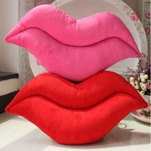 Sexy Ladies Red Lips Shape Plush Stuffed Toy Throw Pillow Decorative Cushion