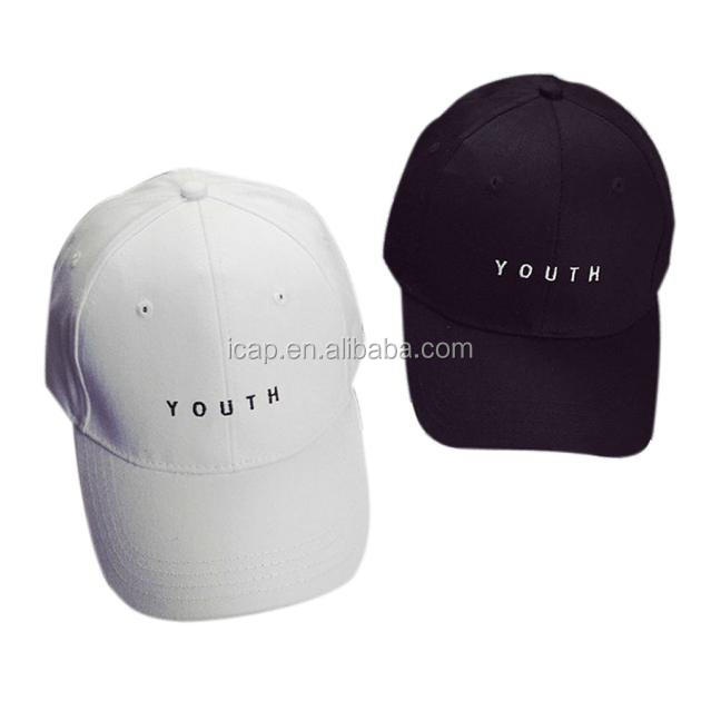 2016 New Arrival Fashion Unisex Embroidery Youth Letter Cotton Baseball Cap Boys Girls Snapback Hip Hop Flat Hat Black White Hot