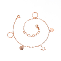W-70002 Xuping fashion jewelry new design fancy rose gold with star and small bell anklet, anklets foot jewelry