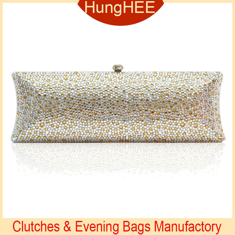 New Fashion Women Elegant Gold and White Crystal Clutch Evening Bags