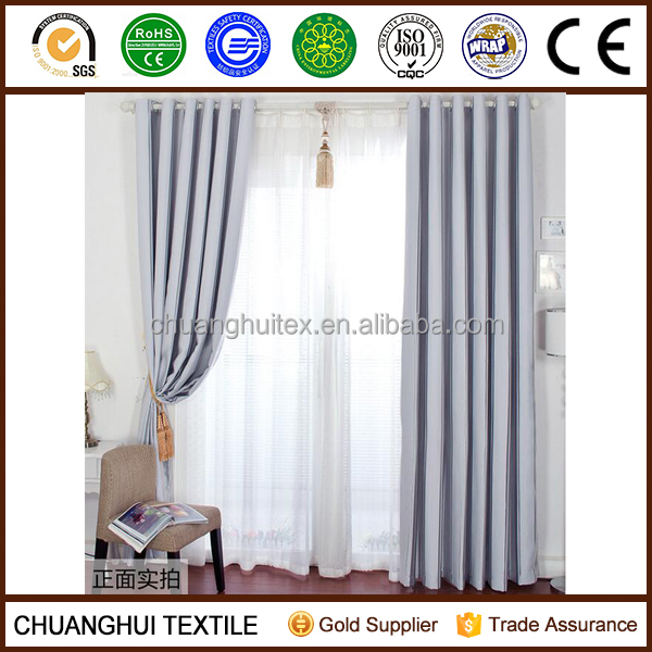 100% polyester silver striped blackout curtain