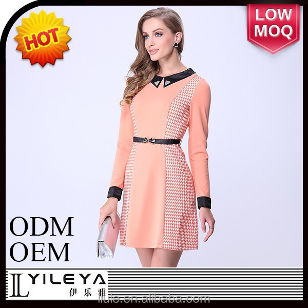 Fashional designed long sleeve plain frock design dress