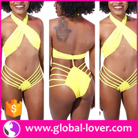 small moq ladies yellow sexy halter neck hot bikini photos
