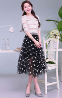 M40315B 2014 korean summer fashion printed slim dot lace women's long dress
