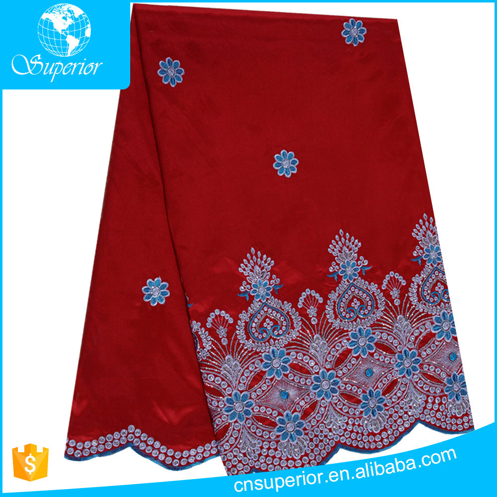 indian fabric Big red Bottom slub cloth embroidery and sequins design Many colors can selected can customized