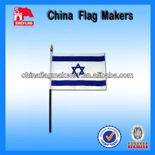 Custom Hand Flag With Pole With Israel Country Logo Printing