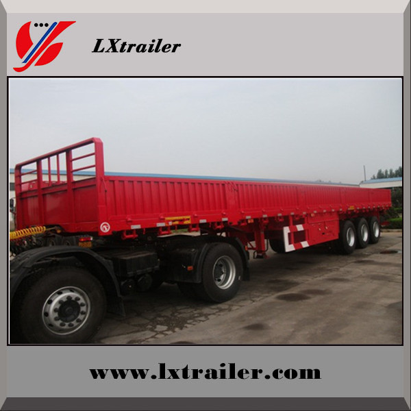 Durable Best Selling 40FT Three Axle Flat Bed Semi Trailer With Side Wall
