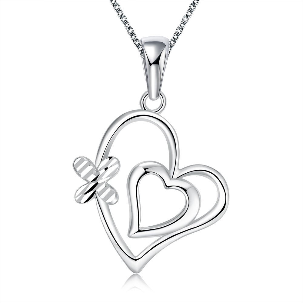 SJ Amazon Hot Selling Mother's Day Gift Copper 925 Sterling Silver Plated Double Heart Shape Pendant <strong>Necklace</strong>