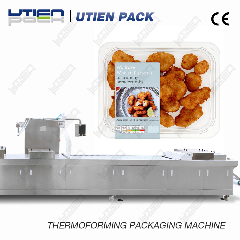 Wholetail scampi in breadcrumbs packing machine