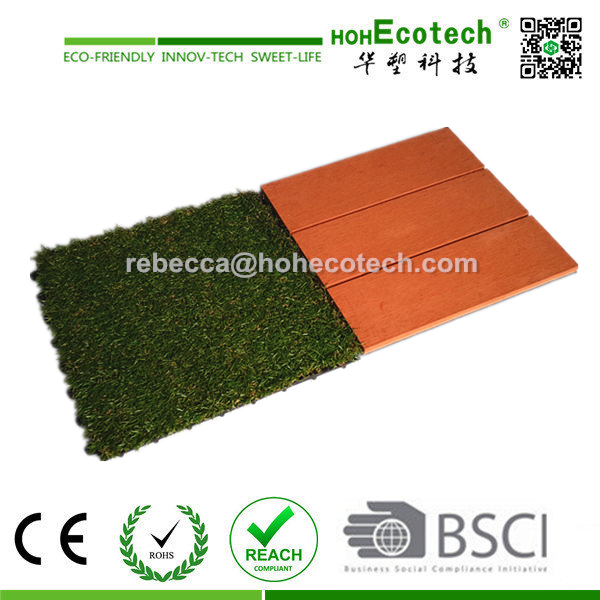 Factory price! wood plastic composite interlocking decking tiles/easy install garden artificial grass tile and wpc flooring tile
