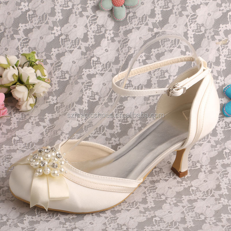 Ankle Strap Wedding Dress Shoes Closed Toe