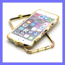 4.7Inch 5.5Inch Luxury Rhinestone Diamond Frame Metal Case Cover Bling Bumper for Apple iPhone 6