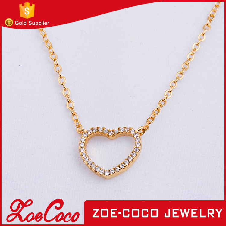 unique love heart shaped zircon necklaces jewelry with 24K gold plated for women