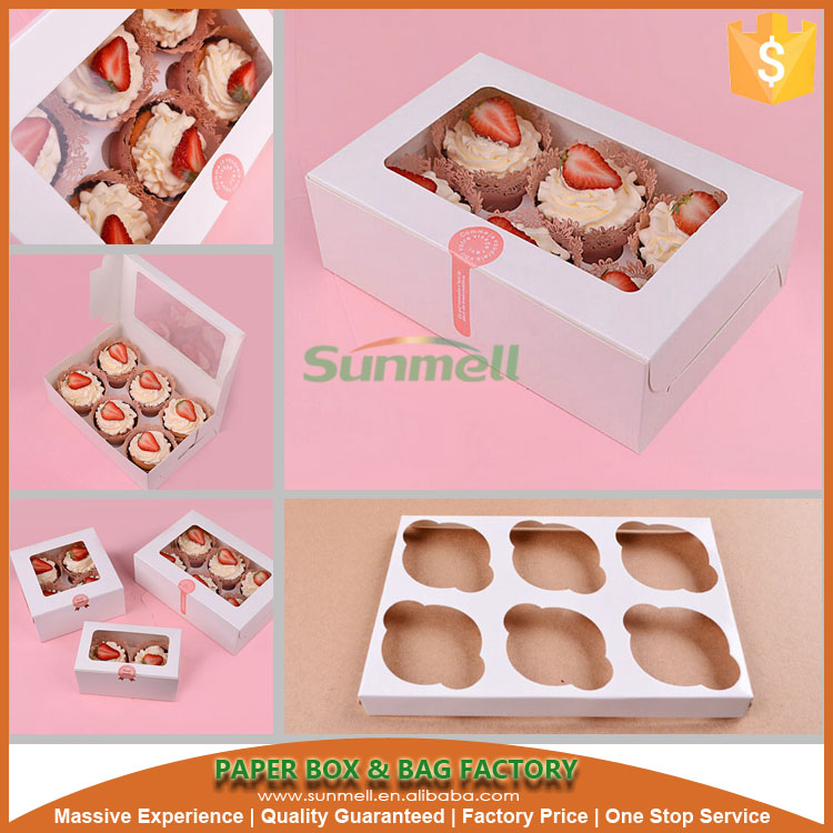 custom printed cheap cupcake box and inserts template sweet box design