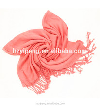 2017 Spring supporter scarf Fashion Pink Viscose Solid color bulk pashmina shawl