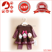 Wholesale childrens boutique clothing 100% cotton newborn baby happu birthday clothing cheap yiwu two pcs sets