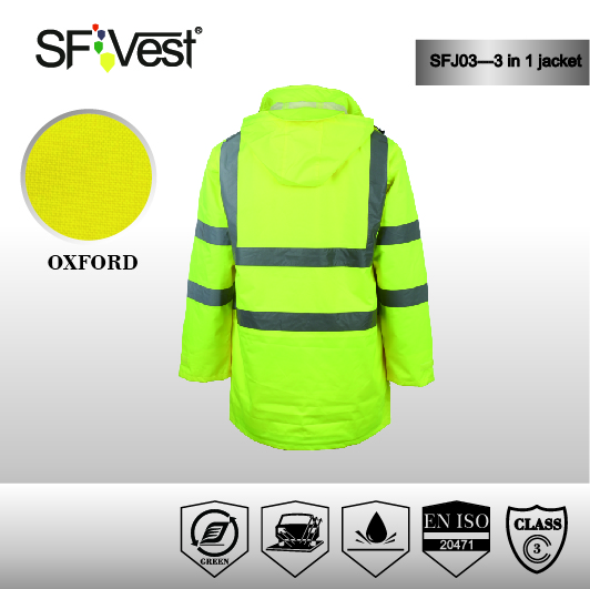 3 in 1 Safety Reflective Security Jacket Hi Vis Clothing