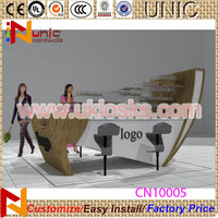 2015 wooden barber shop design hair extension furniture from China