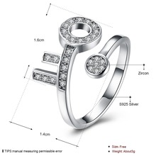 Luxury <strong>Key</strong> Style 925 Sterling Silver Ring Sparkle Cubic Zirconia Bridal Jewelry Wedding Gift Adjustable Size