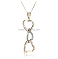 14k Tri Color Gold Heart Pendant Necklace Real Heart Pendant Necklace Jewelry
