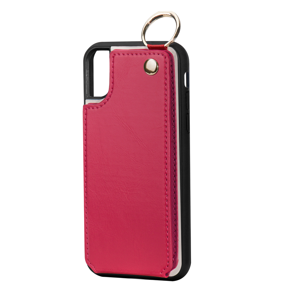 Rose Red PU leather back cover case with card slots for iPhone 8