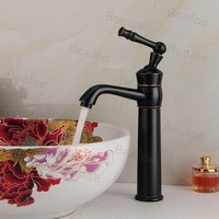 ORB black solid brass high body freestanding elbow spout single handle one hole hot and cold water mono basin mixer faucet taps