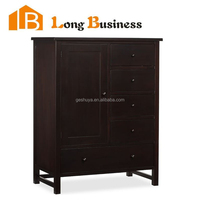 LB-VW5015 Storage furniture pine wood chest of 5 drawers and one door