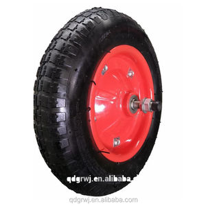 wholesale wheelbarrow rubber pneumatic wheels with axle and ball bearing