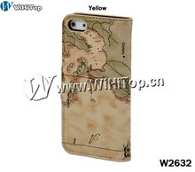 Travel Leather Cover Hard POUCH Stand World Map Bag Holder Case For iPhone 5 5g Factory Price Fast Shipping