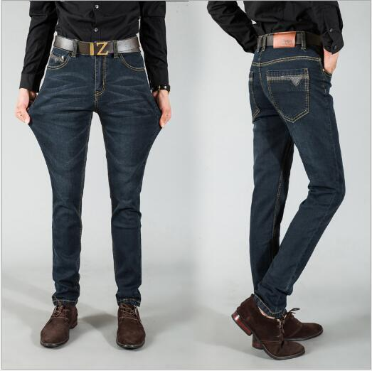 Korean tidal black men jeans casual long pants slim feet jeans