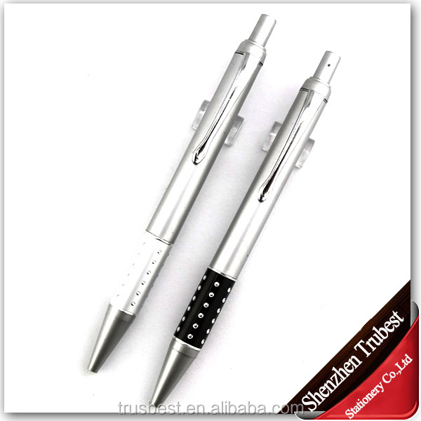 TM-19 promotional ball pen , Retractable metal ball pen, Metal Pen with rubber grip