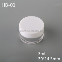 Hot sale cheap round 3 ml PS plastic customized makeup jars/ empty cosmetic case/ plastic case
