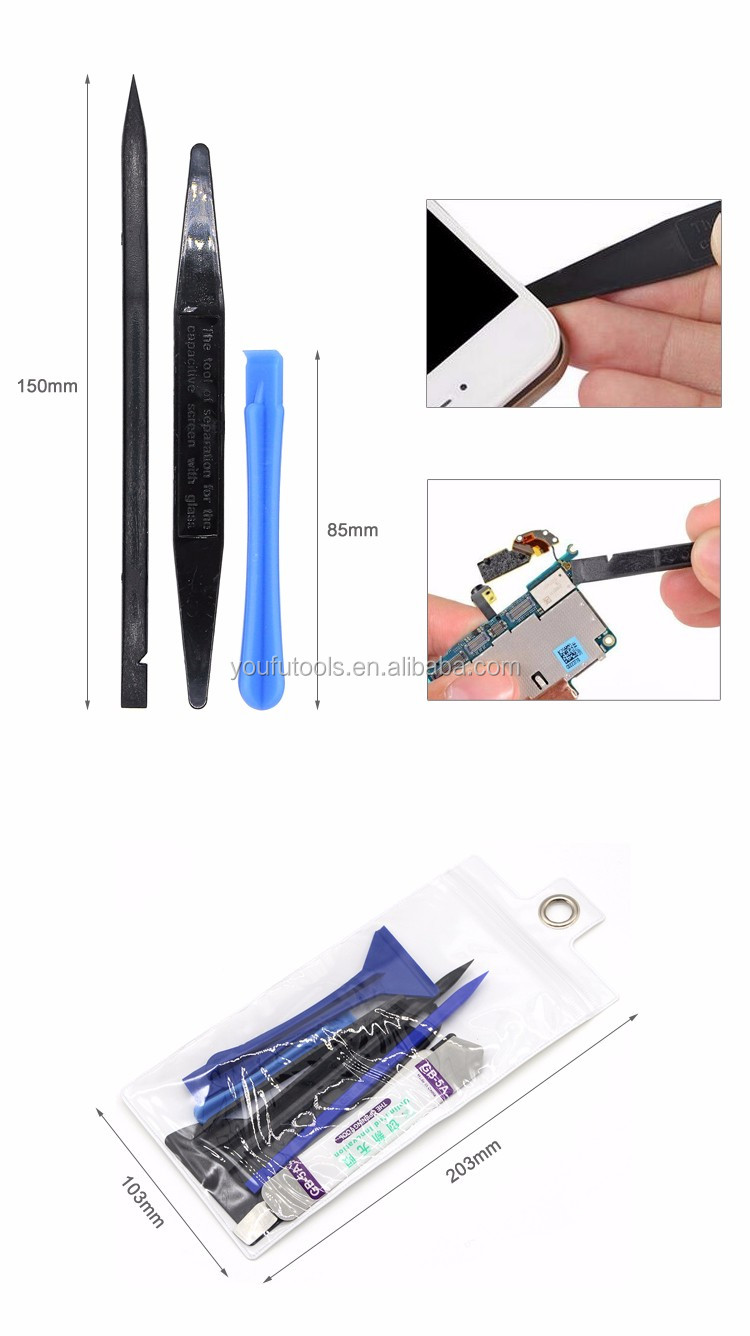 9 pcs Universal Mobile Phone Opening Pry Tools Kit Anti-Slip Spudger Metal Tweezer for iPhone iPad Samsung Cell Phone