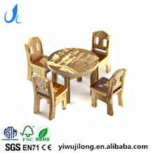 Wooden small furniture suits Wood chair table simulation model toys wholesale children pretend-play toys