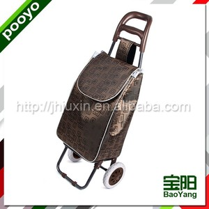 strong shopping trolley bag aluminum frame fabric folding shopper basket