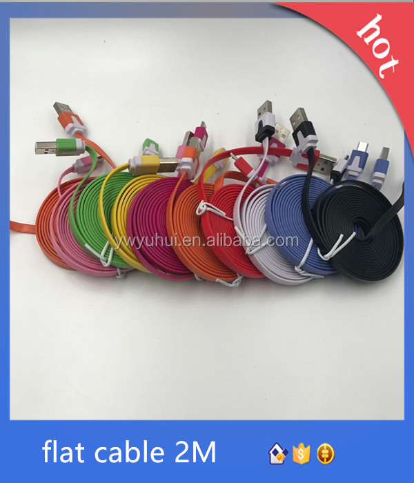 Colorful V8 Flat Micro USB Cable Noodle 2M 6FT Data Sync Charger Cord Charging Universal for Samsung HTC Blackberry Nokia LG