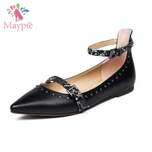 High Quality Black Genuine Leather Close Toe Silver Spike Studded Side Buckles Gladiator Fashion Flats Shoes