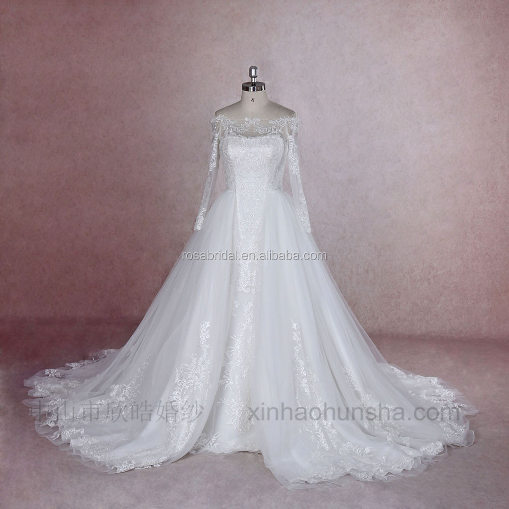 XY-16131 Off shoulder mermaid & ball gown 2 ways detachable skirt wedding dress
