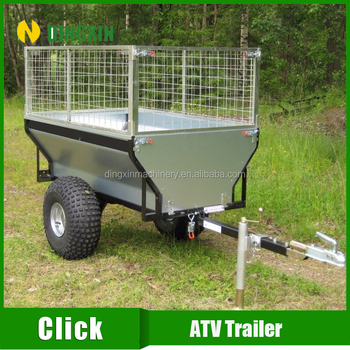 ATV tow behind box dump trailer with 300mm high cage