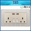 Safety USB Wall Socket Power Supply Switch with 2 USB PORT 13A 250V FLOWER