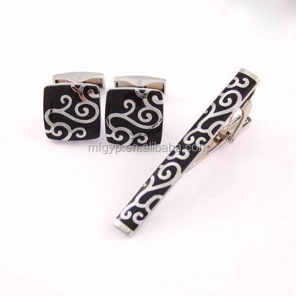 Art craft metal custom cufflink and tie pin set