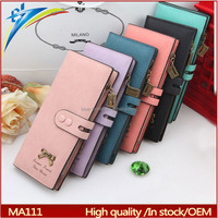 MFS brand Double clips long girls clutch wallets Multi-card holder purses for visa card