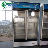 900l easy cool supermarket transparent display 2 slide glass door fridge showcase