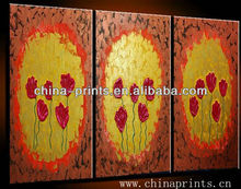 Artist hand painted flower images on canvas by Oil