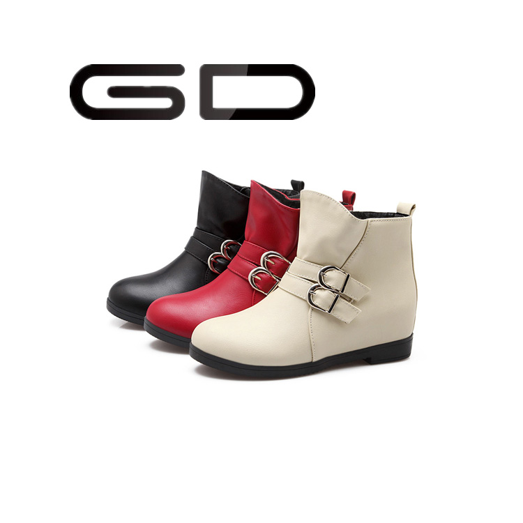 Leather winter girls boots snow boots flat heel fur lining buckle boots