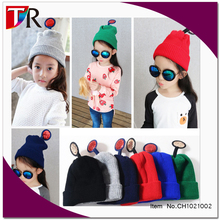 2015 new stock cute girl children knitted animal cosplay hat with ear