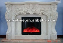 white marble round gas fireplace