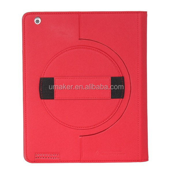 Custom handheld rotating leather case for ipad case