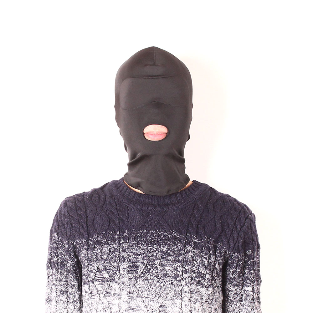 Fetish Fantasy Lightweight Strong Elastic Spandex Mask hood with open mouth holes, Party Mask, Cosplay hood Harness Master Slave
